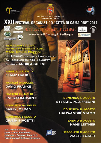 Al via il 22° Festival Organistico Città di Camaiore
