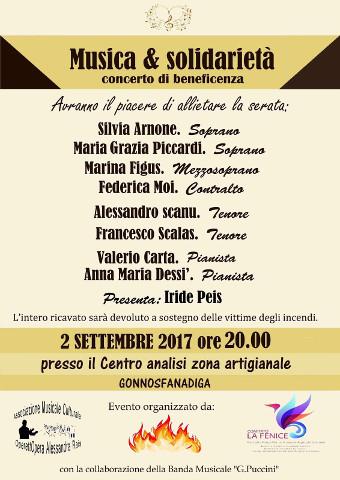 A Gonnosfanadiga un concerto per sostenere le vittime degli incendi