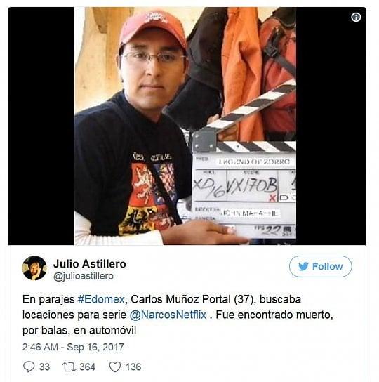 """Assistente di produzione """"Narcos"""" ucciso in Messico mentre cercava location film"""