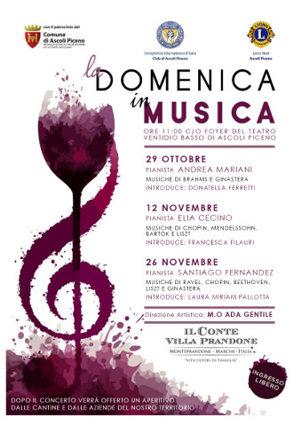 """3^ edizione della rassegna """"Domenica in musica"""" ad Ascoli Piceno"""