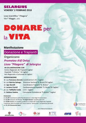 incontro su donazione di organi al Liceo Pitagora di Selargius