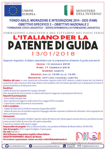 A Cagliari un corso di italiano per la patente di guida