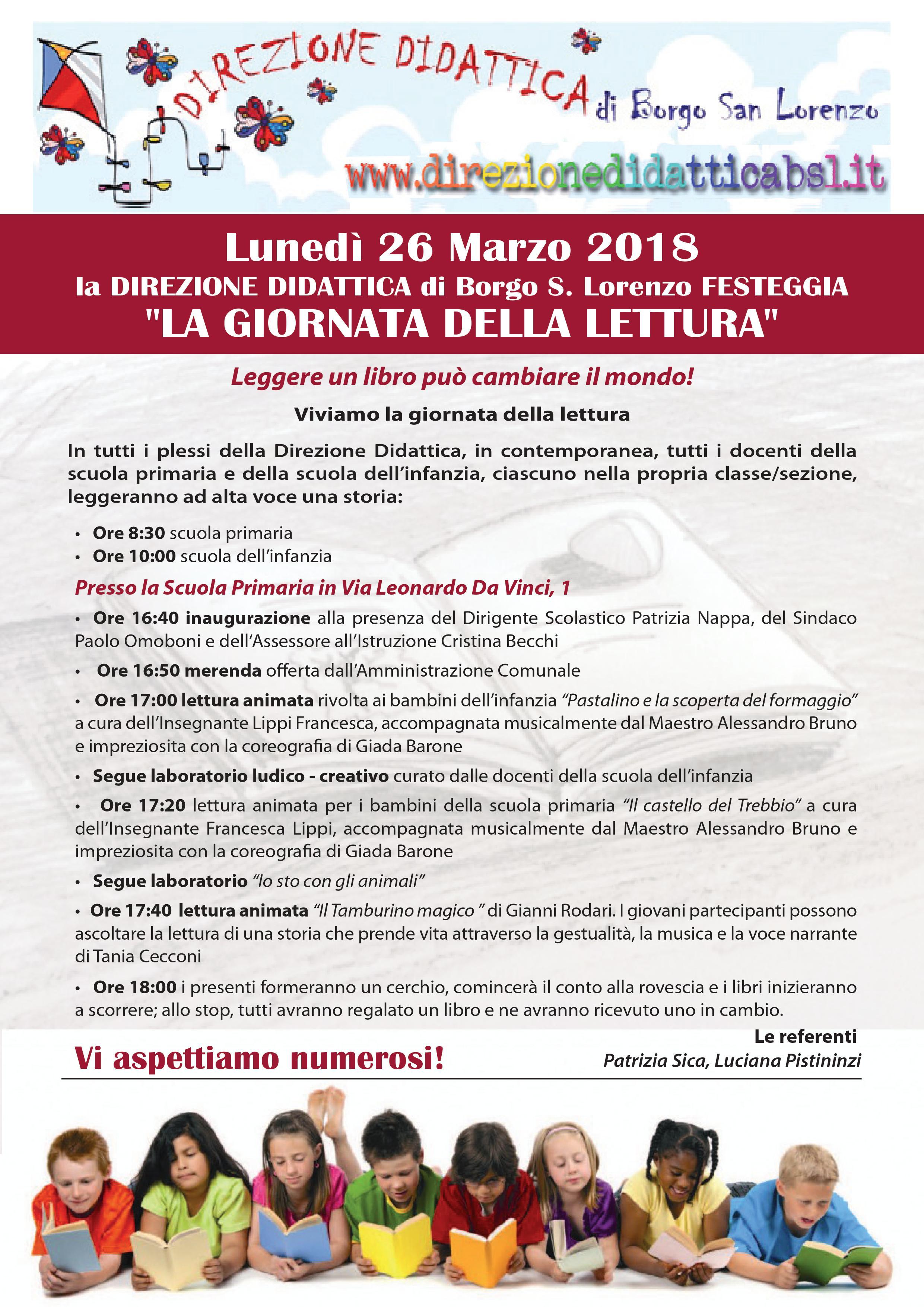 """Il 26 marzo  Borgo S.Lorenzo festeggia la """"Giornata della lettura"""" presso la Direzione Didattica"""