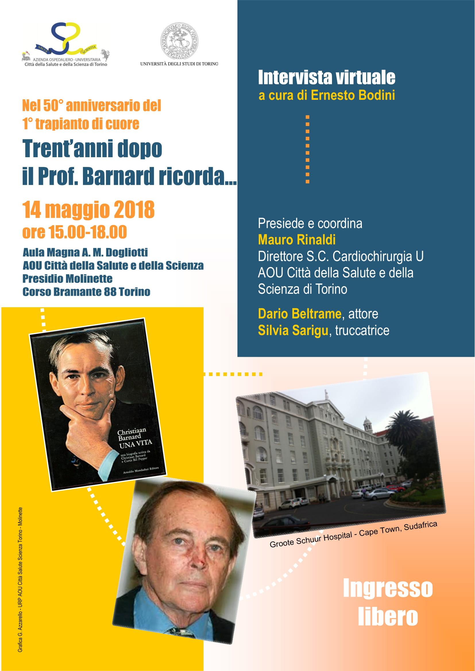 """Trent'anni dopo il professor Barnard """"si racconta"""":  performance all'ospedale Molinette di Torino"""