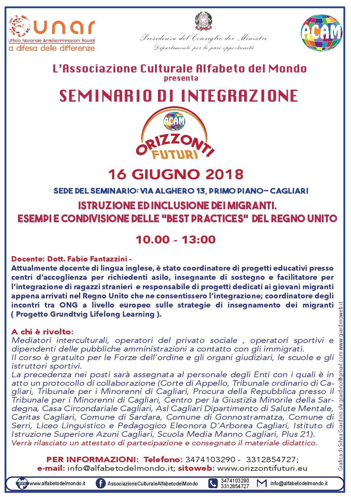 Cagliari:  Alfabeto del Mondo presenta un seminario sull'integrazione