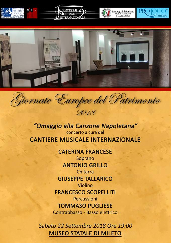 """Concerto """"Omaggio alla canzone napoletana"""""""" il 22 settembre al Museo Statale di Mileto"""