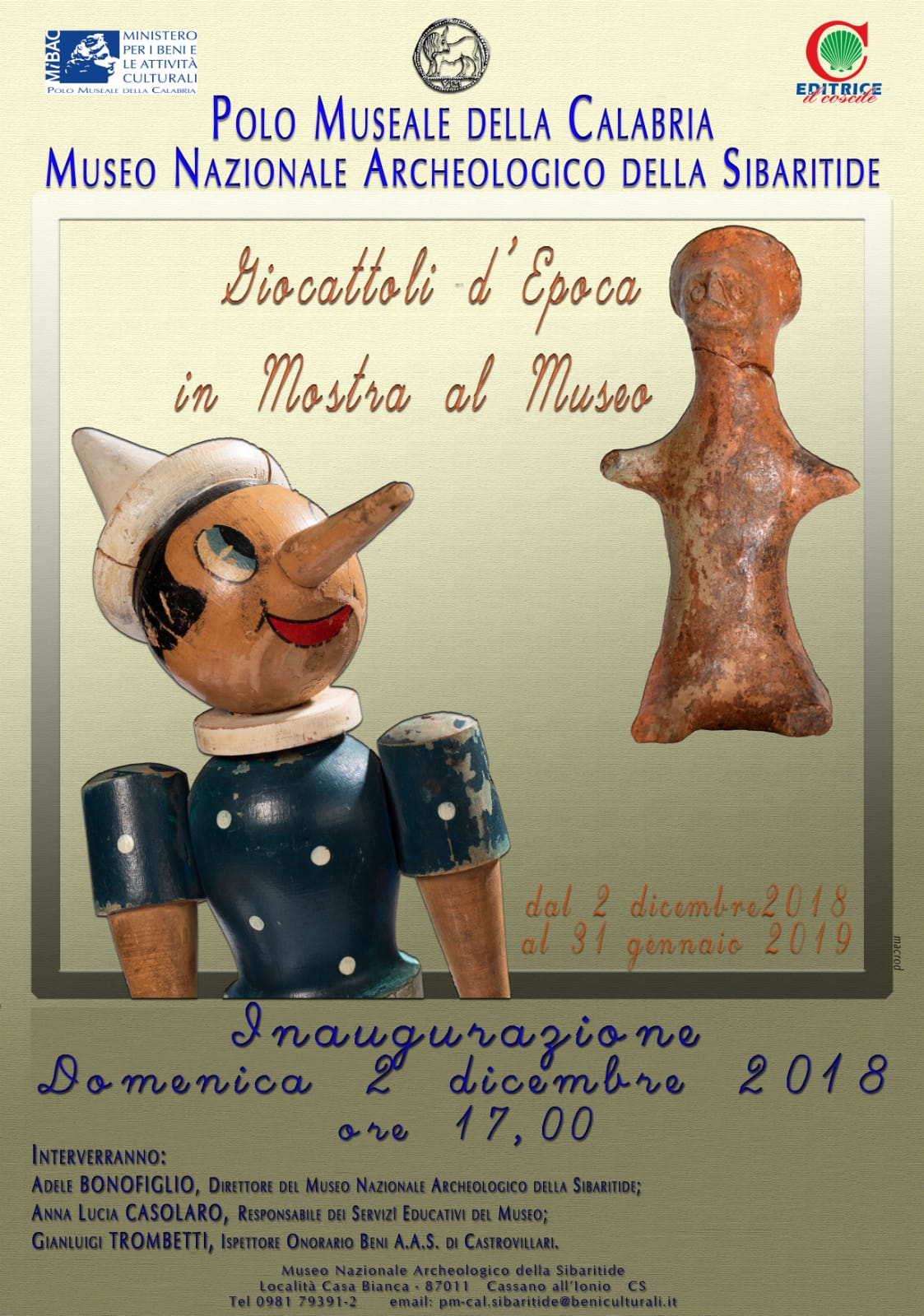"""""""Giocattoli d'epoca in mostra al Museo"""" presso Museo Nazionale Archeologico della Sibaritide  Cassano allo Ionio (Cosenza)"""
