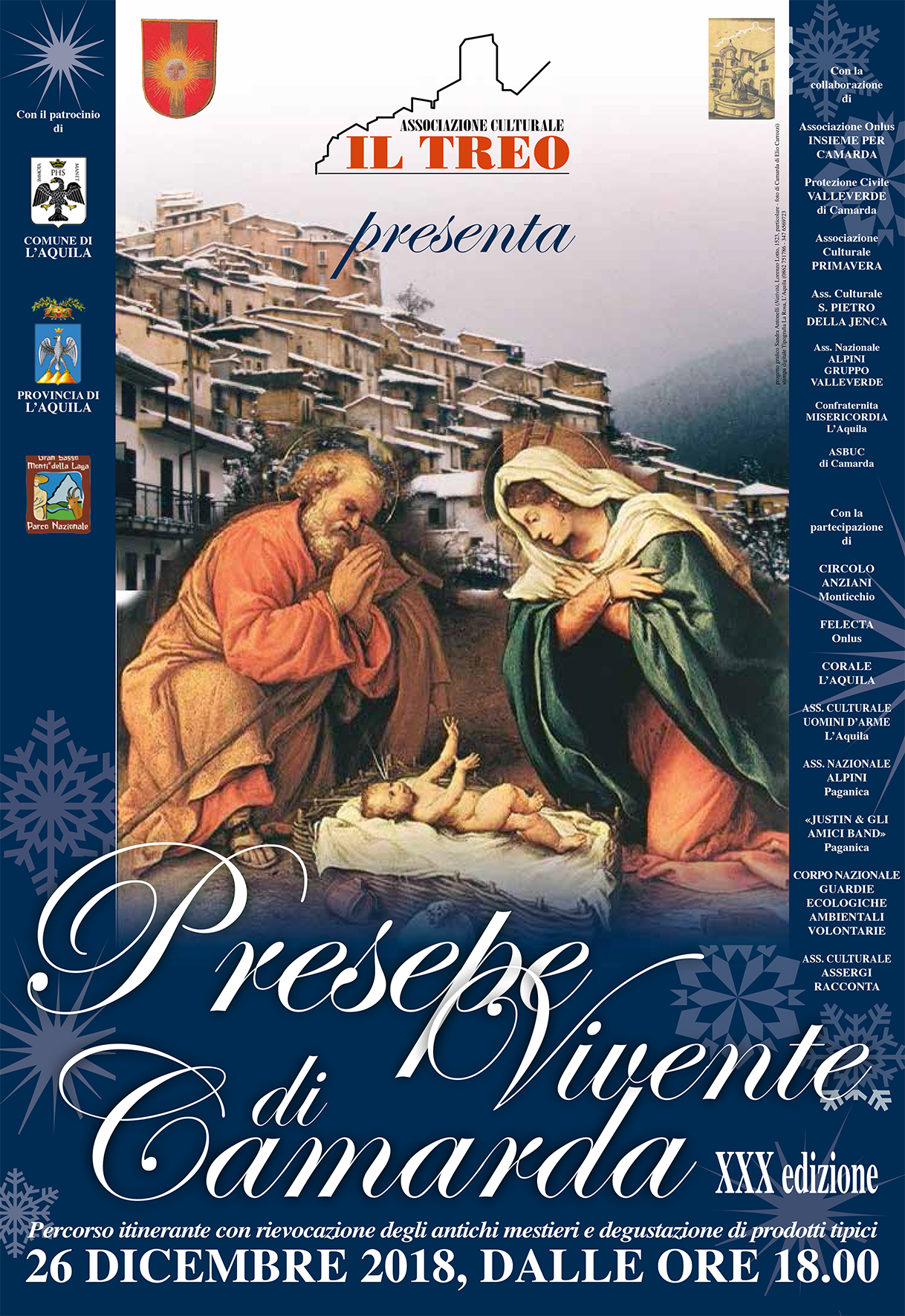 PRESEPE VIVENTE DI CAMARDA, XXX EDIZIONE MERCOLEDI 26 DICEMBRE 2018, ORE 18