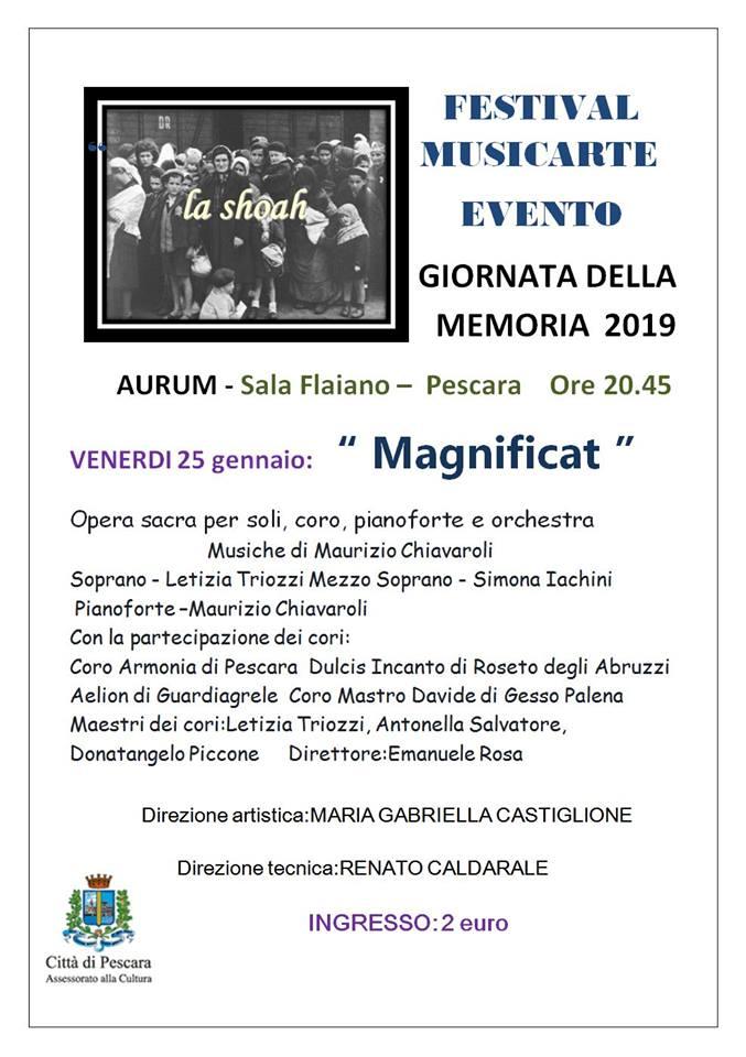 """Giornata della memoria: a Pescara, """"Magnificat"""" il 25 gennaio, all'Aurum"""