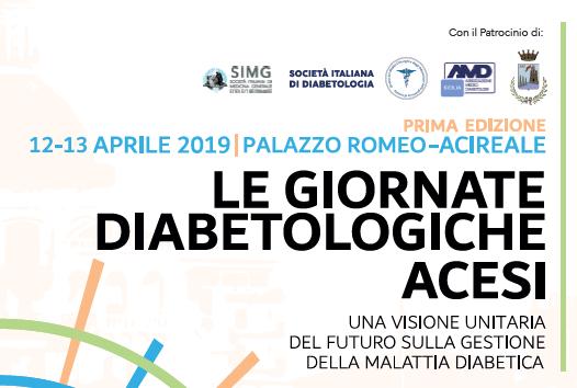 LE GIORNATE DIABETOLOGICHE ACESI. Il 12/13 APRILE AD ACIREALE PRESSO PALAZZO ROMEO