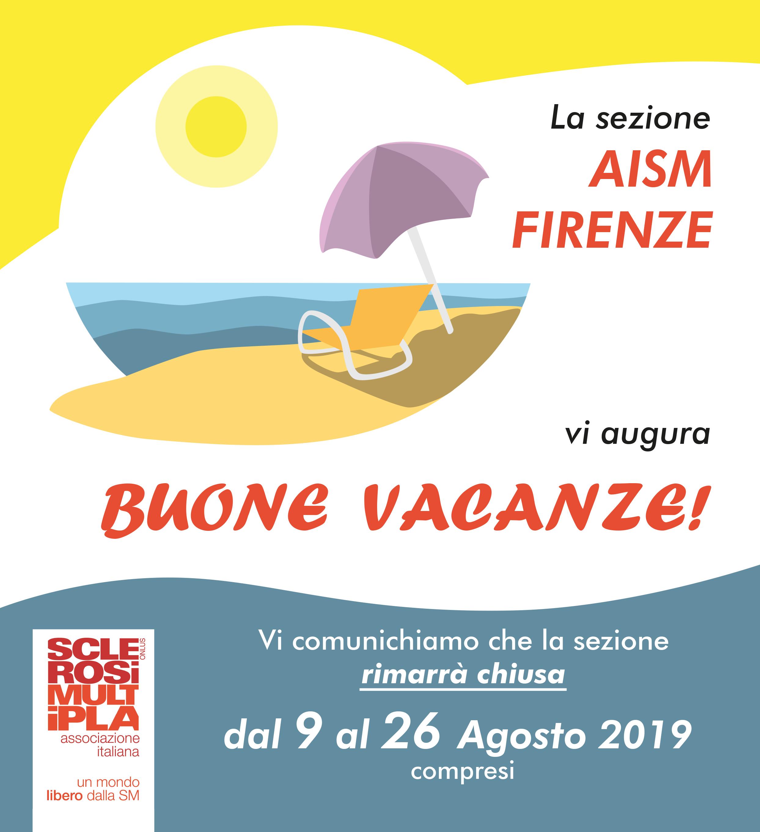 La sezione AISM di Firenze chiude dal 9 al 26 agosto. In settembre riprenderanno attività ed incontri