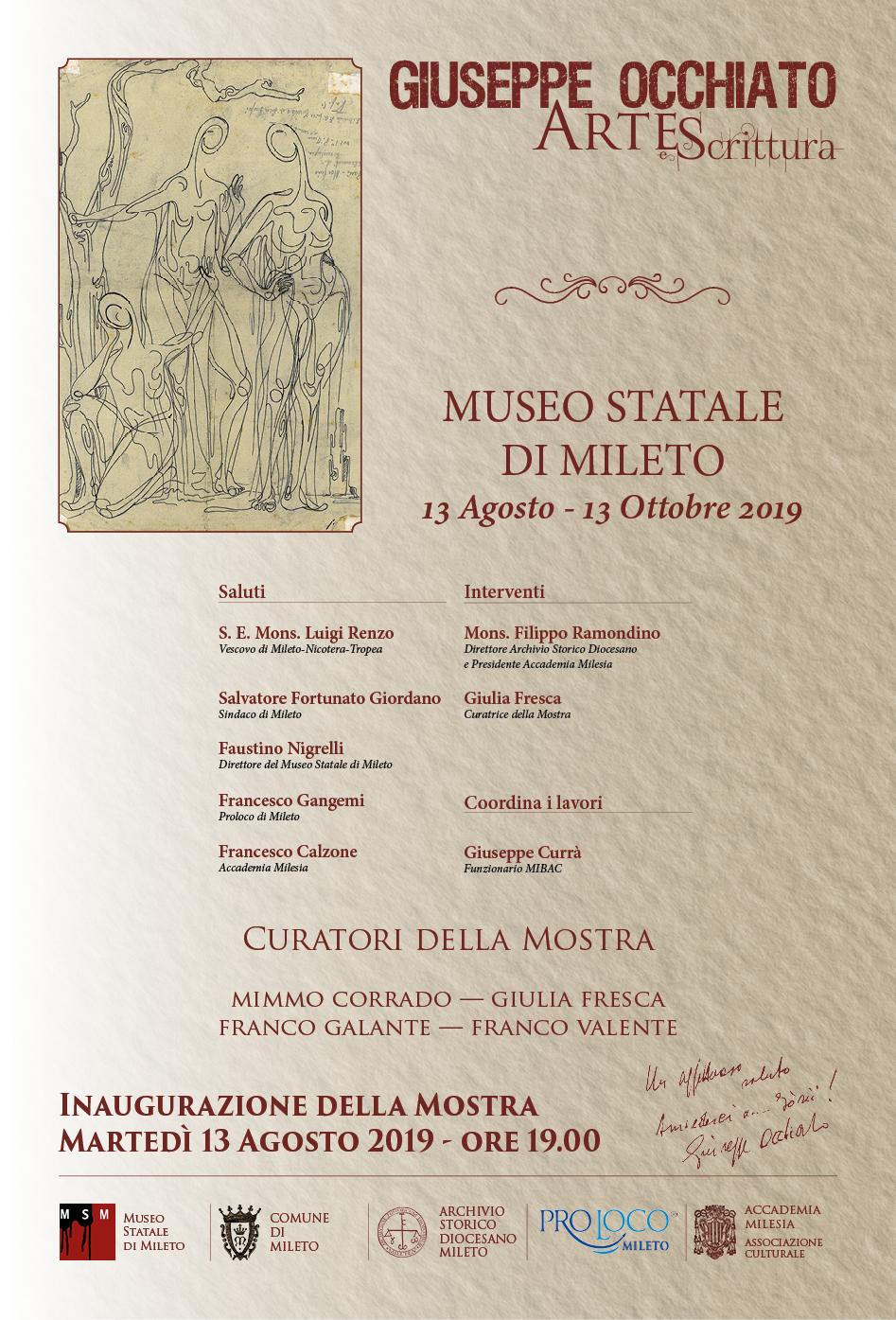 """Al Museo Statale di Mileto inaugurazione della mostra """"Arte e scrittura"""" di Giuseppe Occhiato"""