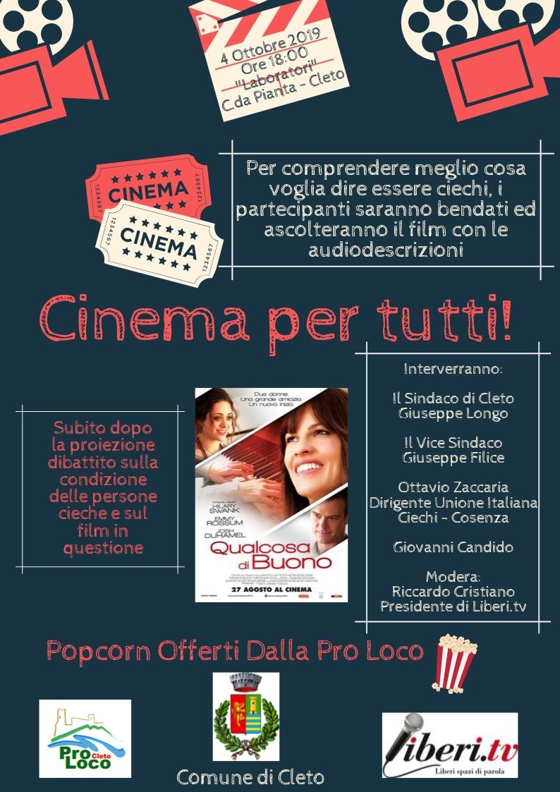 """A Cleto, (CS) il 4 ottobre, prende il via """"Cinema per tutti"""" cineforum dedicato a grandi e piccoli"""
