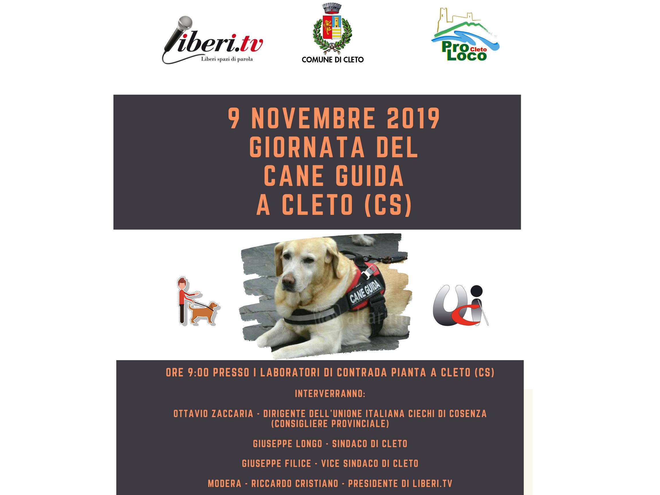 "9 novembre a Cleto (CS) ""Giornata del cane guida"""