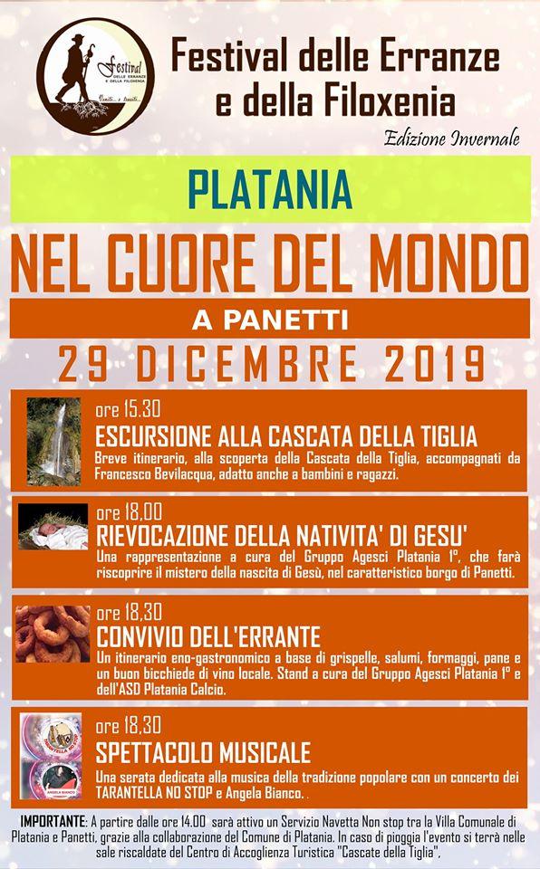 DOMENICA 29 DICEMBRE NEL CUORE DEL MONDO A PANETTI DI PLATANIA.