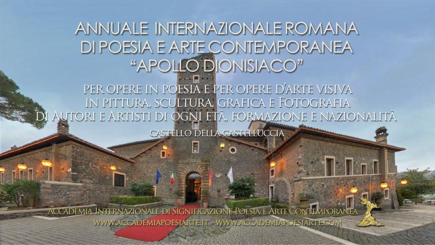 Roma: VII Edizione 2020 del Premio Internazionale di Poesia e Arte Contemporanea Apollo dionisiaco
